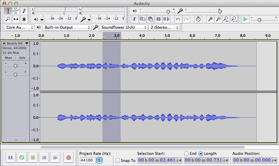 Figure 1. Selection of Audio in Audacity.