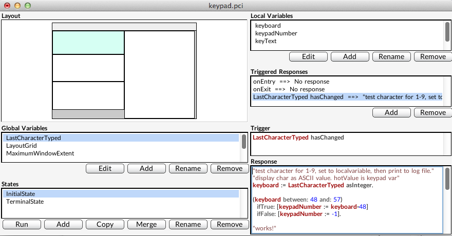 Figure 3. Keypad.pci backend tool layout