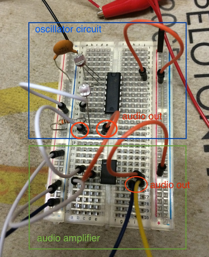 Breadboard of the Photoresistor Theremin circuit + 386 audio amplifier