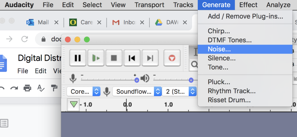 Figure 1. Generate Noise menu in Audacity audio software