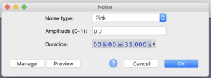 Figure 2. Noise generator settings in Audacity.