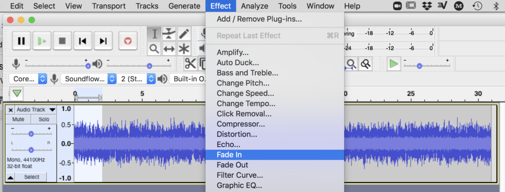 Figure 4. Add two-second fade-in in Audacity using Effect menu