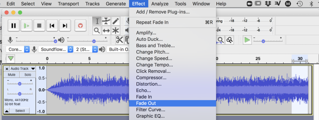 Figure 5. Add two-second fade-out in Audacity using Effect menu