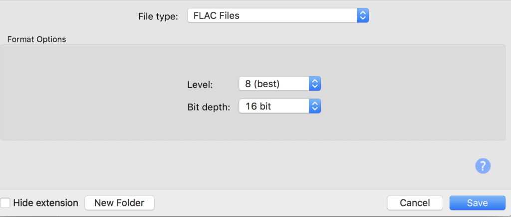 Figure 7. FLAC settings in the Export Audio window in Audacity software